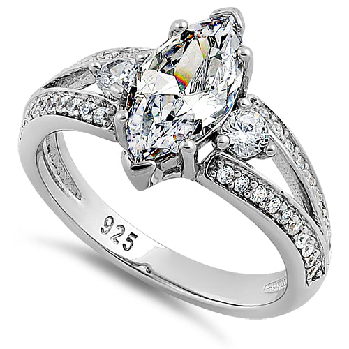 Sterling Silver Pristine  Marquise Cut Clear CZ Ring