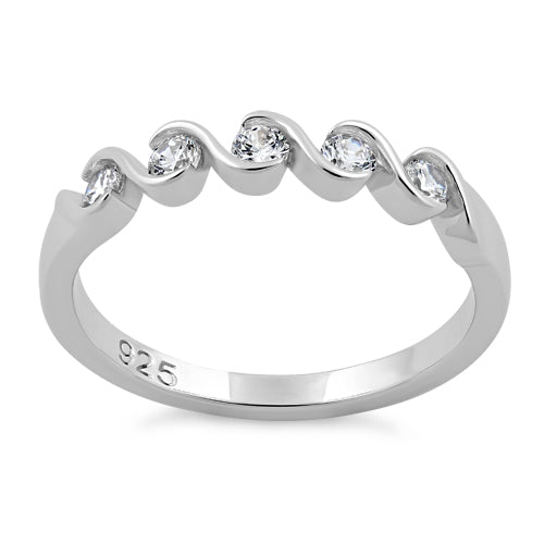 Sterling Silver Quintuple Clear CZ Ring