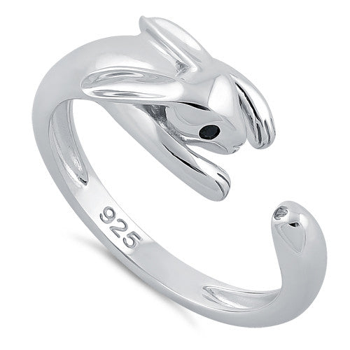 Sterling Silver Rabbit Black CZ Ring