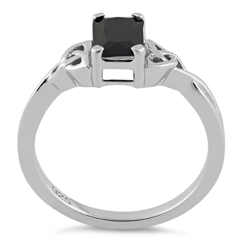 Sterling Silver Rectangle Black Celtic CZ Ring