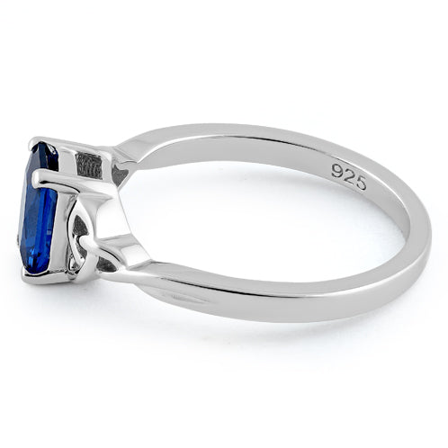 Sterling Silver Rectangle Blue Spinel Celtic CZ Ring