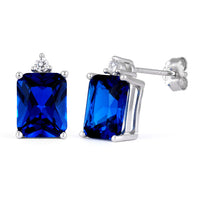 Sterling Silver Rectangular Blue Sapphire CZ Earrings