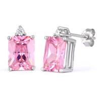 Sterling Silver Rectangular Pink CZ Earrings