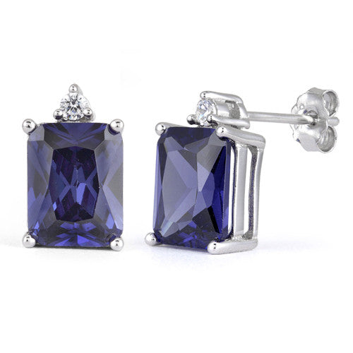 Sterling Silver Rectangular Tanzanite CZ Earrings