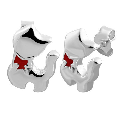 Sterling Silver Red Bow Cat Earrings