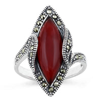 Sterling Silver Red Agate Marquise Marcasite Ring