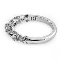 Sterling Silver Regal Round Cut Clear CZ Engagement Ring