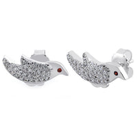 Sterling Silver Robin Garnet CZ Earrings