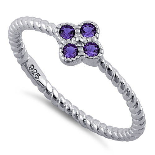 Sterling Silver Rope Flower Amethyst CZ Ring