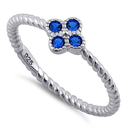 Sterling Silver Rope Flower Blue Spinel CZ Ring