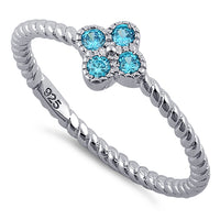 Sterling Silver Rope Flower Blue Topaz CZ Ring