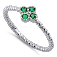 Sterling Silver Rope Flower Emerald CZ Ring