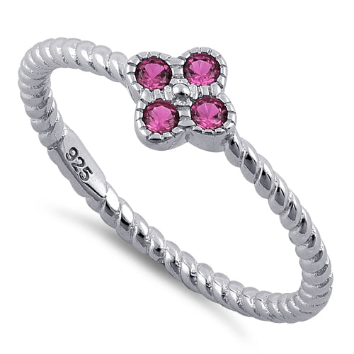 Sterling Silver Rope Flower Ruby CZ Ring