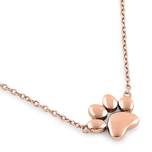 Sterling Silver Rose Gold Paw Necklace