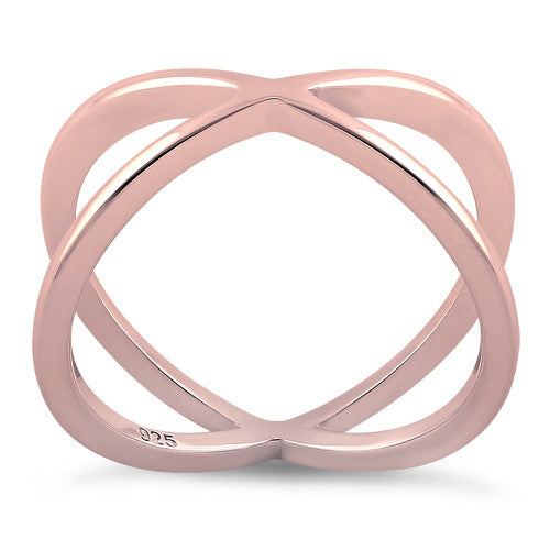 Sterling Silver Rose Gold Plated Overlapping X Ring