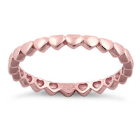 Sterling Silver Rose Gold Plated Tiny Hearts Eternity Ring