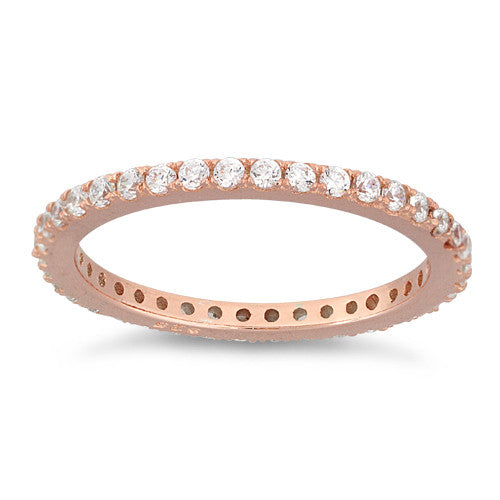 Sterling Silver Rose Gold Stackable Eternity CZ Ring