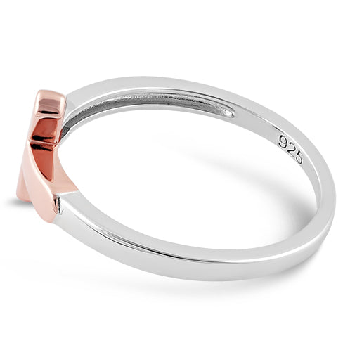 Sterling Silver Rose Gold Two Tone Cross Ring