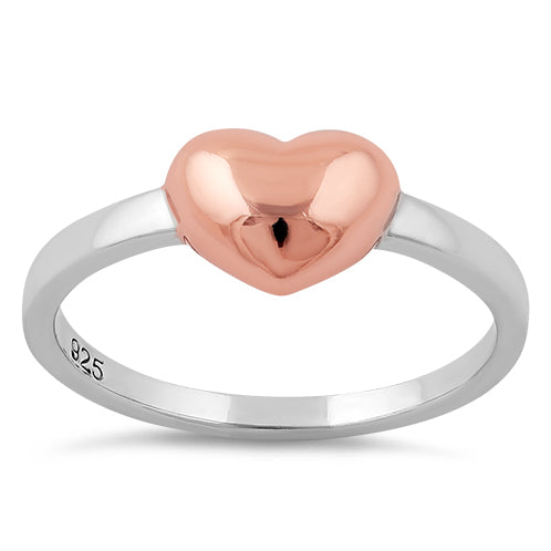 Sterling Silver Rose Gold Two Tone Heart Ring