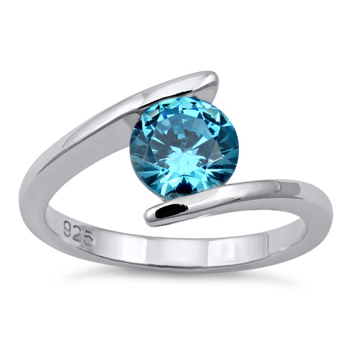 Sterling Silver Round Bezel Aqua CZ Ring
