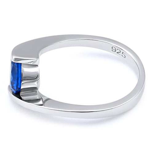 Sterling Silver Round Bezel Blue Spinel CZ Ring