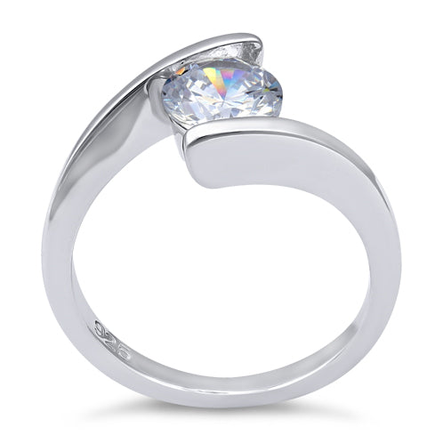 Sterling Silver Round Bezel Clear CZ Ring