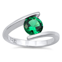 Sterling Silver Round Bezel Emerald CZ Ring