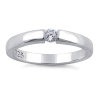 Sterling Silver Round Clear CZ Ring
