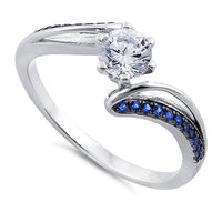 Sterling Silver Round Cut Blue CZ Ring