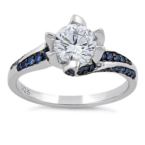 Sterling Silver Round Cut Clear & Blue Spinel CZ Ring