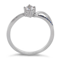 Sterling Silver Round Cut Engagement Blue CZ Ring
