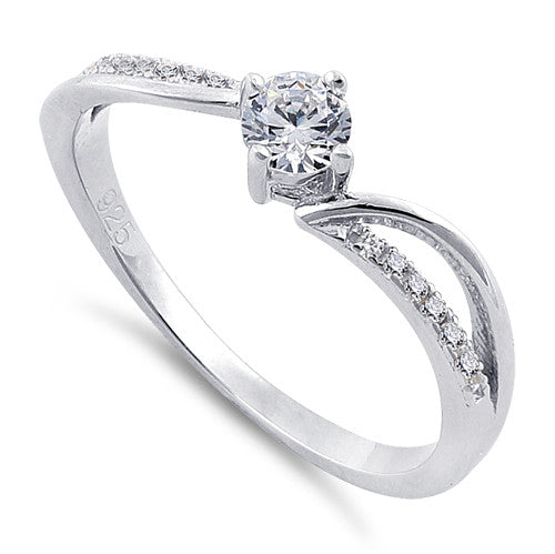 Sterling Silver Round Cut Engagement Clear CZ Ring