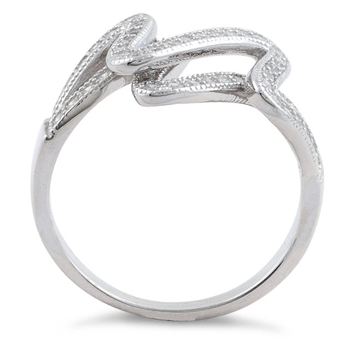 Sterling Silver Scribble CZ Ring
