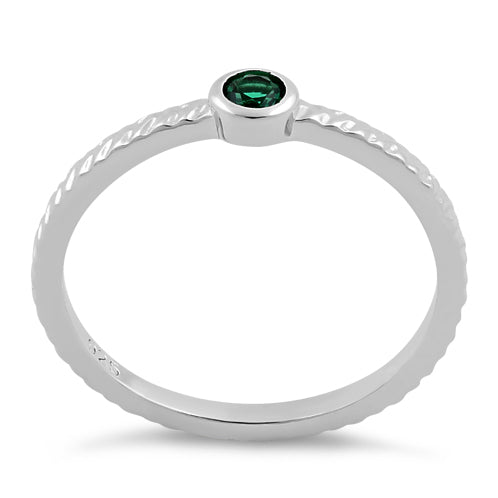 Sterling Silver Small Round Cut Emerald CZ Ring