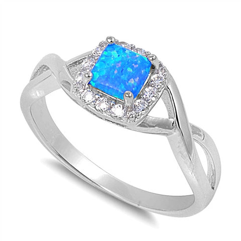 Sterling Silver Square Blue Lab Opal CZ Ring