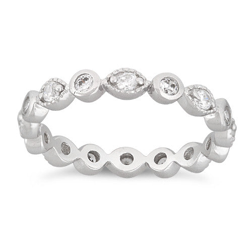 Sterling Silver Stackable Eternity Eye CZ Ring