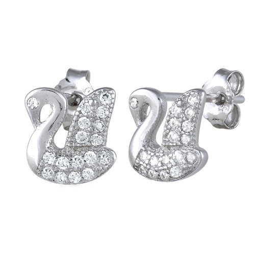 Sterling Silver Swan CZ Earrings