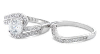 Sterling Silver Swirl CZ Wedding Set Ring