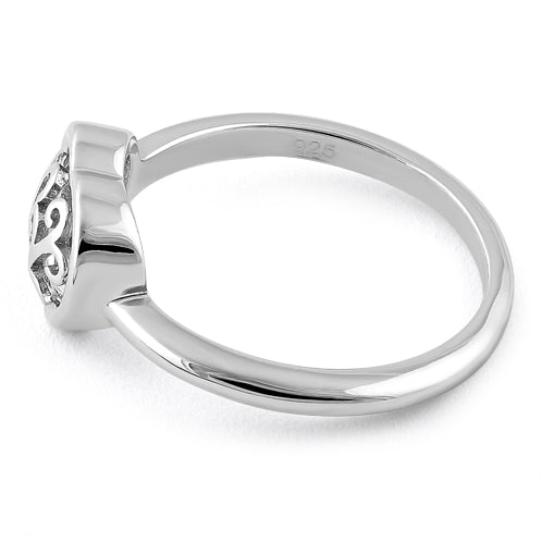 Sterling Silver Swirl Heart Ring