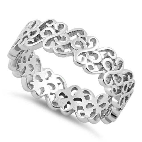 Sterling Silver Swirl Pattern Band Ring
