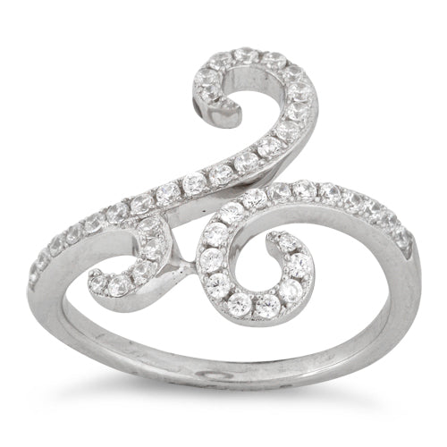 Sterling Silver Swirl Pave CZ Ring
