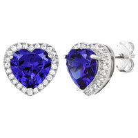 Sterling Silver Tanzanite Big Heart CZ Earrings