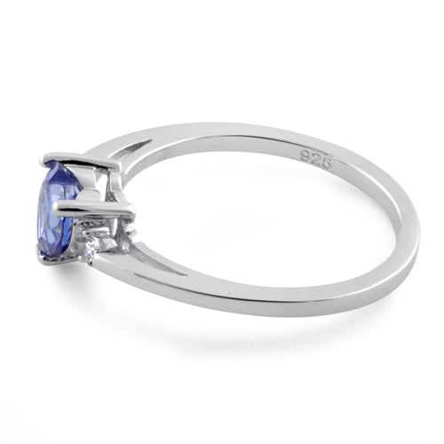 Sterling Silver Tanzanite Heart CZ Ring