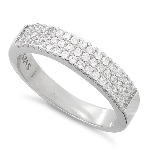 Sterling Silver Three Layer Pave CZ Ring