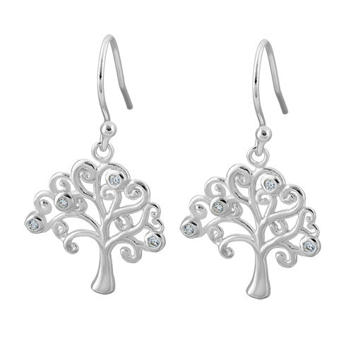 Sterling Silver Tree of Life Hook CZ Earrings