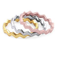 Sterling Silver Tri-Color Zig Zag Stackable Ring