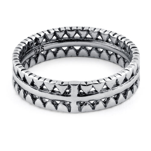 Sterling Silver Triangle Pattern Eternity Ring