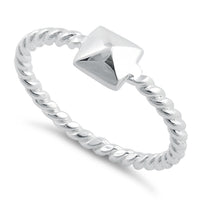 Sterling Silver Triangle Rope Ring
