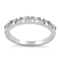 Sterling Silver Triangles & Circles CZ Ring