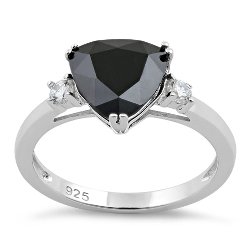 Sterling Silver Trillion Cut Black CZ Ring